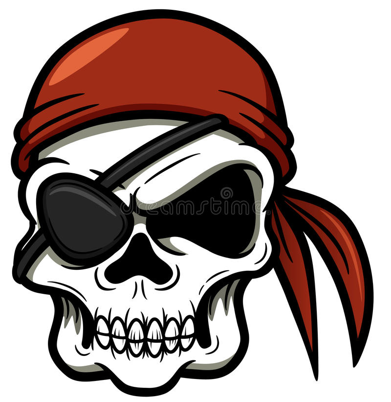 Cráneo del pirata de la historieta stock de ilustración