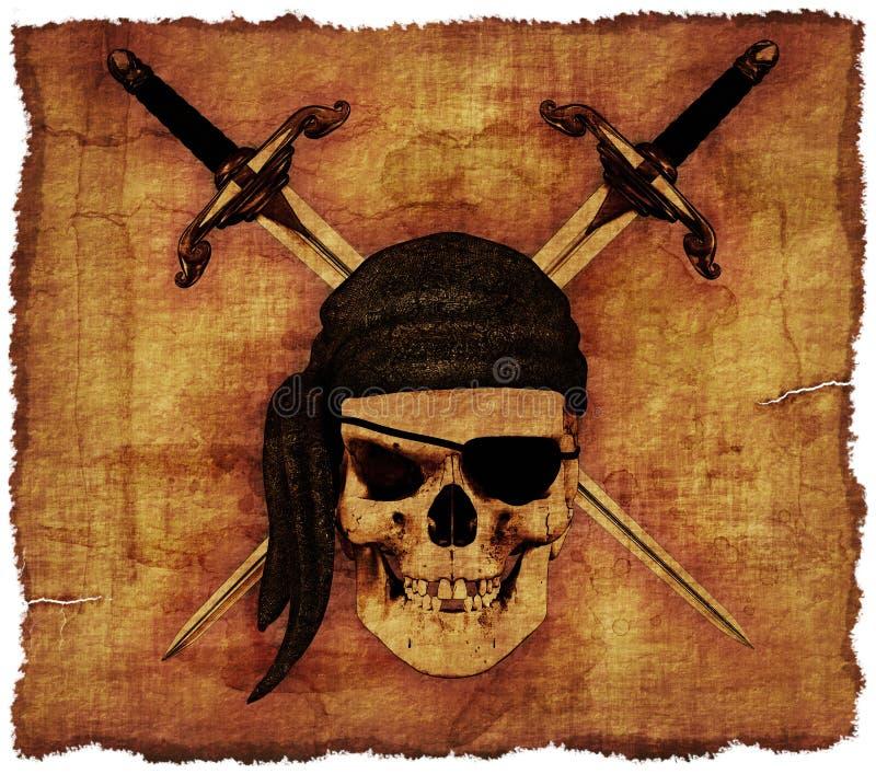 Cráneo del pirata en el pergamino viejo ilustración del vector