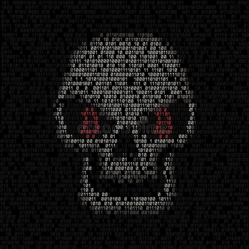 Cráneo del pirata informático del código de Bitcoin stock de ilustración