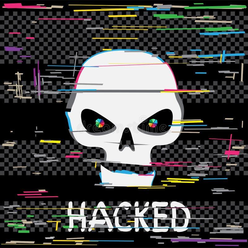 Cráneo del pirata informático de la interferencia con el texto libre illustration