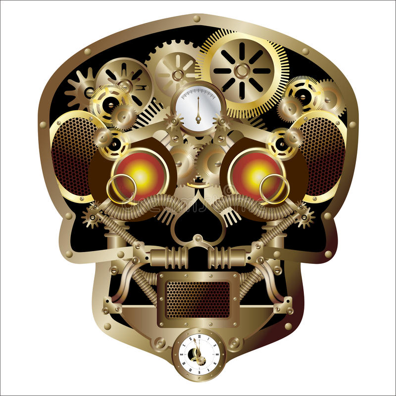 Cráneo del punky del vapor stock de ilustración