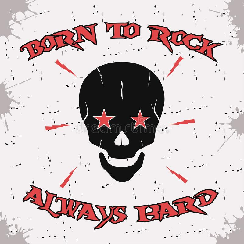 Cráneo del rock-and-roll Ropa del diseño, camisetas Gráficos para la impresión Ilustración del vector libre illustration