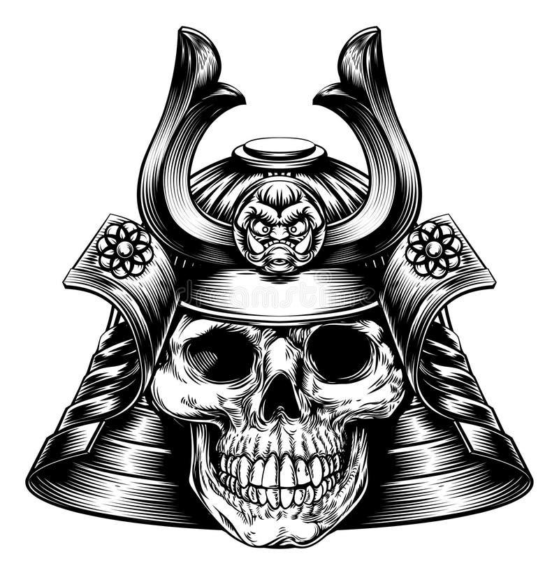 Cráneo del samurai stock de ilustración