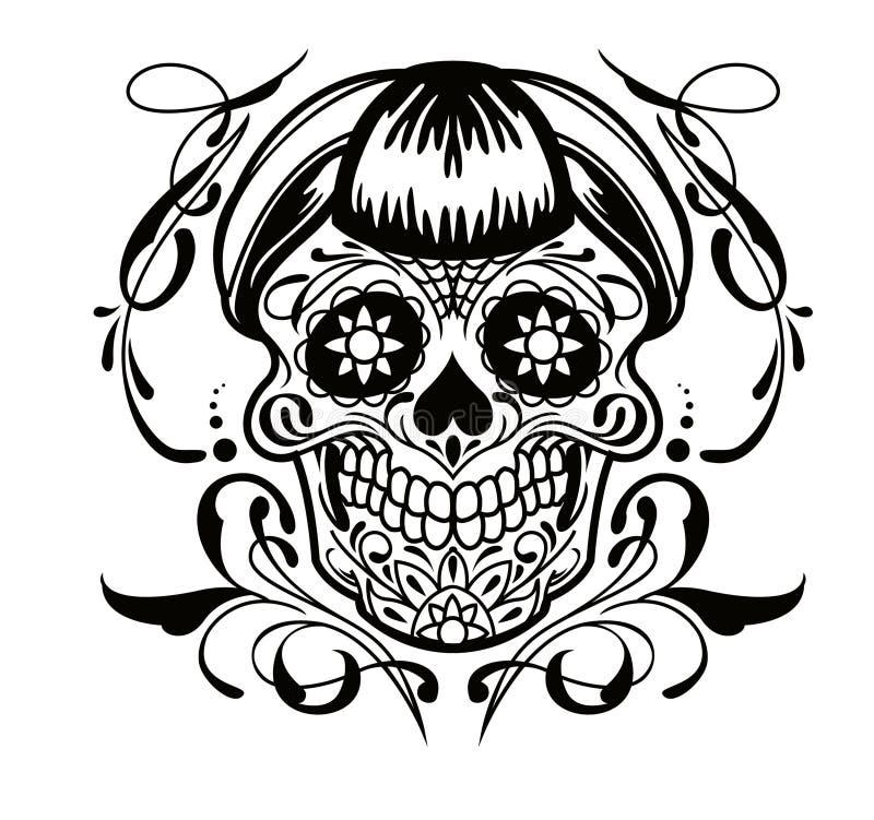 Cráneo del tatuaje ilustración del vector