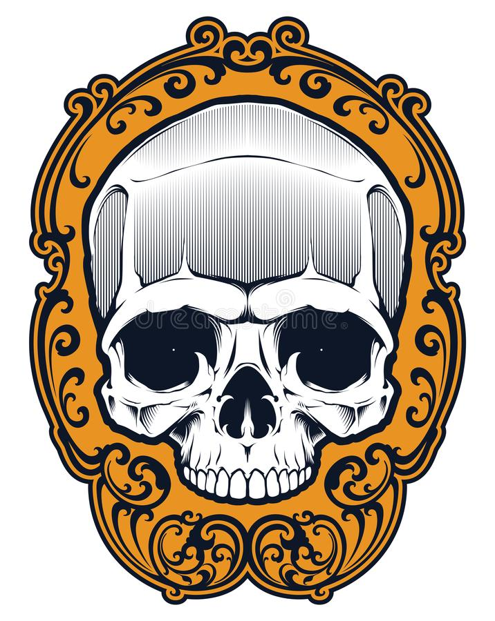Cráneo Del Tatuaje En Marco Ilustración del Vector - Ilustración de ...