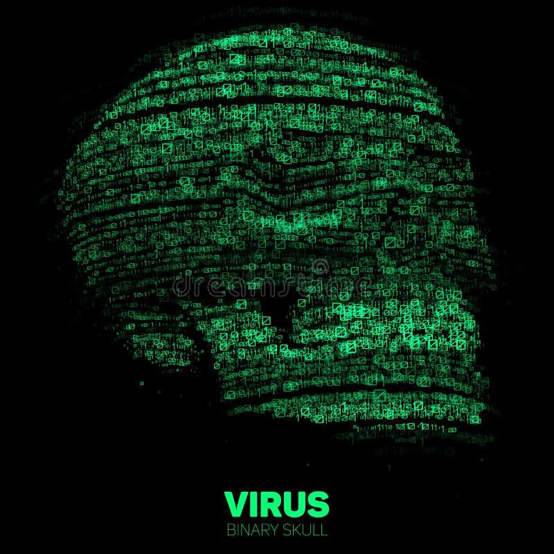 Cráneo del vector construido con código binario verde Ejemplo del concepto de la seguridad de Internet Extracto del virus o del m libre illustration