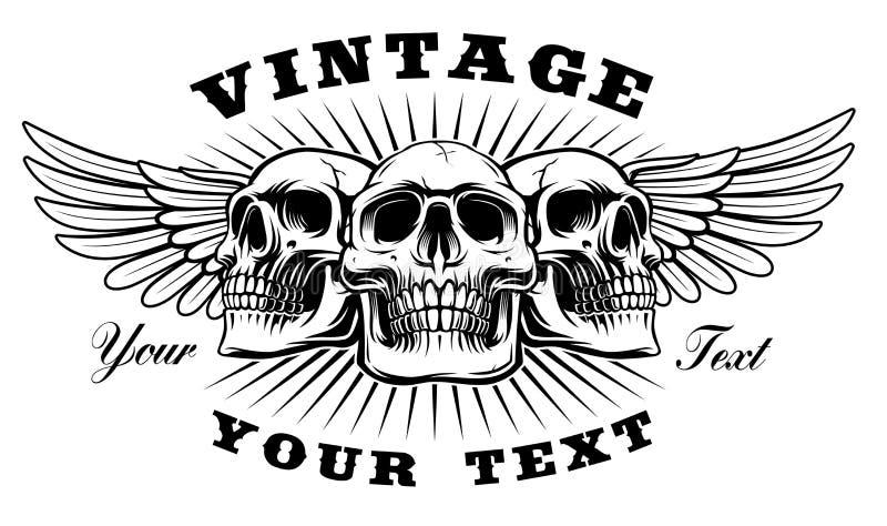 Cráneo del vintage con las alas stock de ilustración