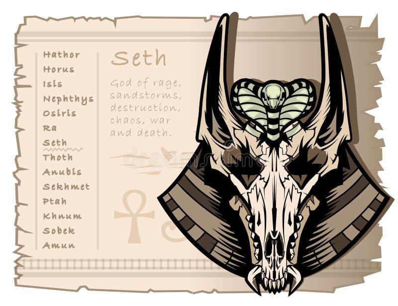 Cráneo del vintage de un chacal con los oídos largos, dios de la guerra, la tormenta, y la anarquía Seth en Egipto antiguo Temple stock de ilustración