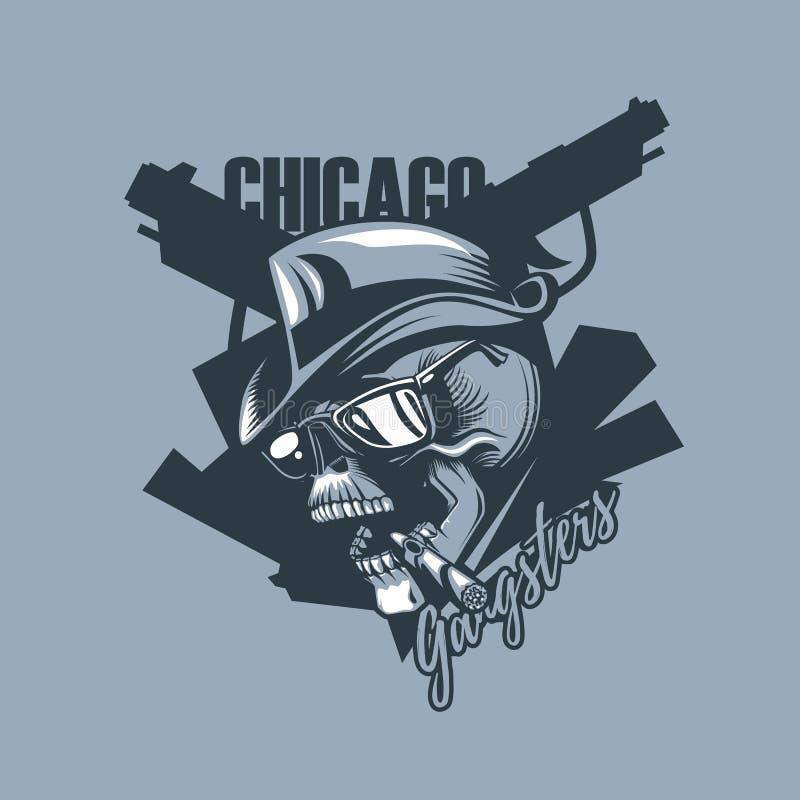 Cráneo del vintage en el estilo de 30 años Gángsteres de Chicago libre illustration