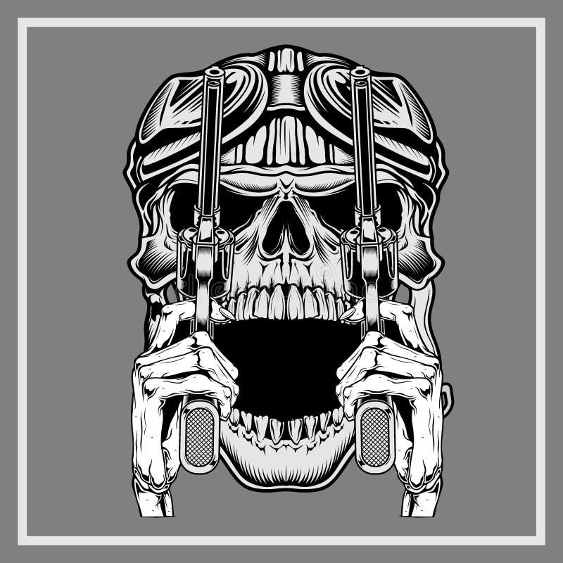 Cráneo del vintage que lleva el arma retro de la tenencia del casco - vector ilustración del vector