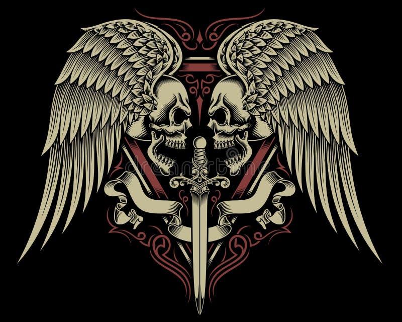 Cráneo doble con las alas y la espada stock de ilustración