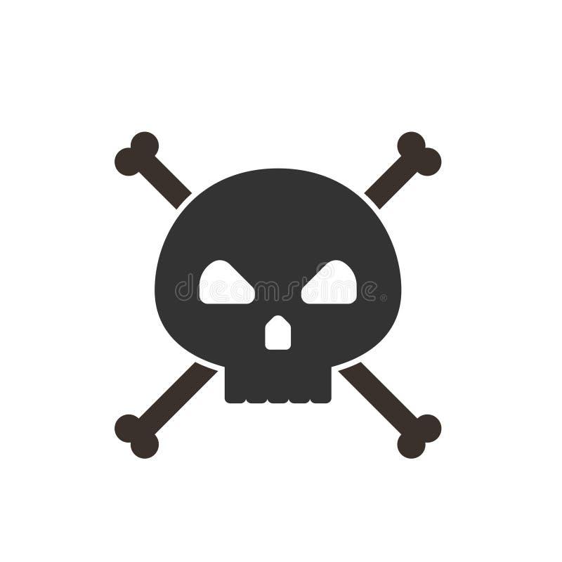 Cráneo e icono de la bandera pirata stock de ilustración