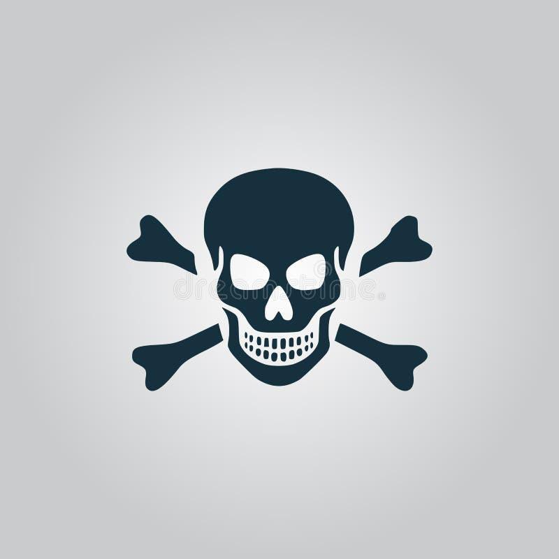 Cráneo e icono de la bandera pirata aislado fotografía de archivo libre de regalías