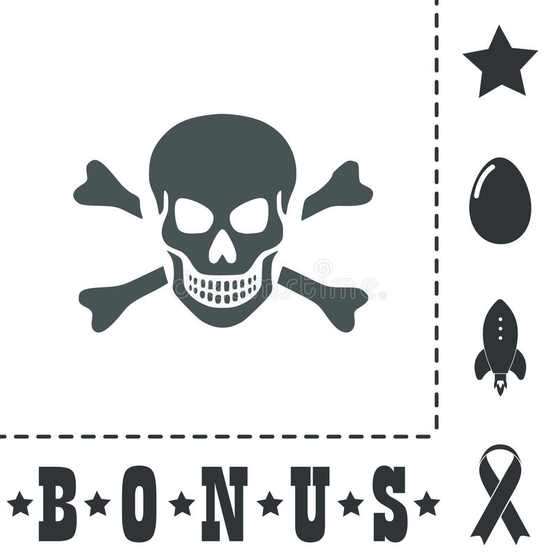 Cráneo e icono de la bandera pirata aislado libre illustration