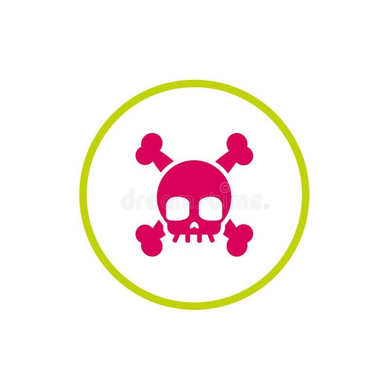 Cráneo e icono de la bandera pirata en el círculo verde aislado en blanco libre illustration