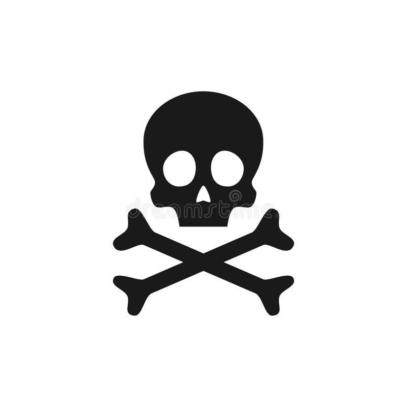 Cráneo e icono de la bandera pirata Señal de peligro del veneno Ilustración del vector stock de ilustración