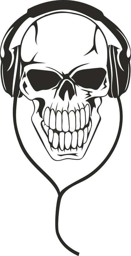 Cráneo en auriculares estéreos ilustración del vector