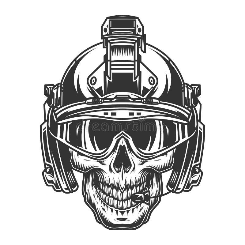 Cráneo en casco militar moderno stock de ilustración