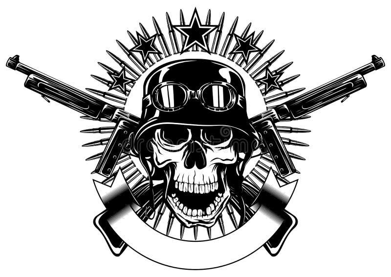 Cráneo en casco y ametralladora cruzada ilustración del vector