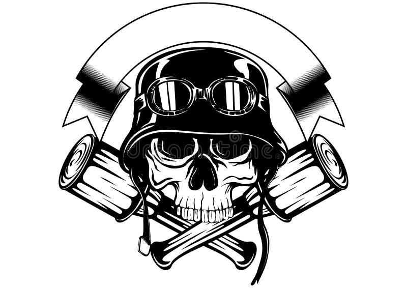 Cráneo en casco y granada cruzada stock de ilustración