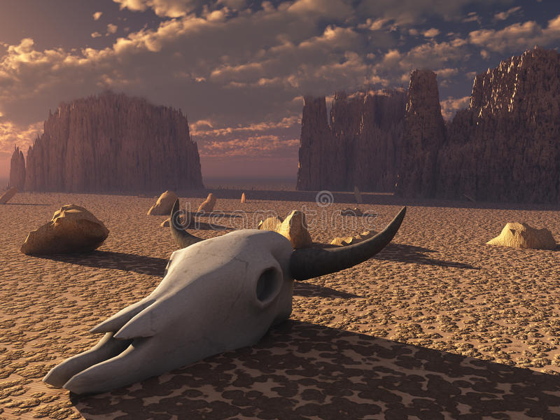 Cráneo en desierto stock de ilustración