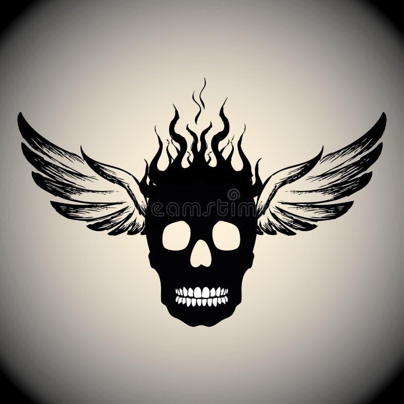 Cráneo en el fuego con las llamas y las alas stock de ilustración