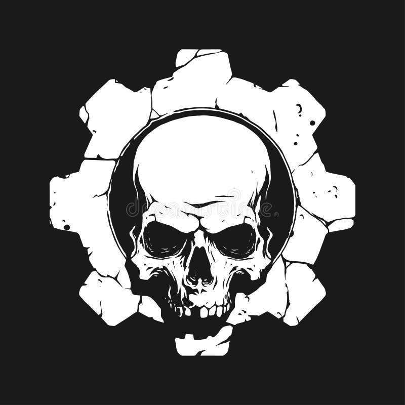 Cráneo en engranaje stock de ilustración