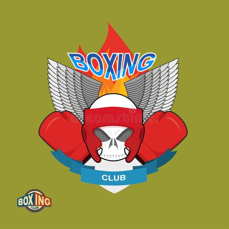 Cráneo en guantes y casco de boxeo, con las alas y el fuego stock de ilustración
