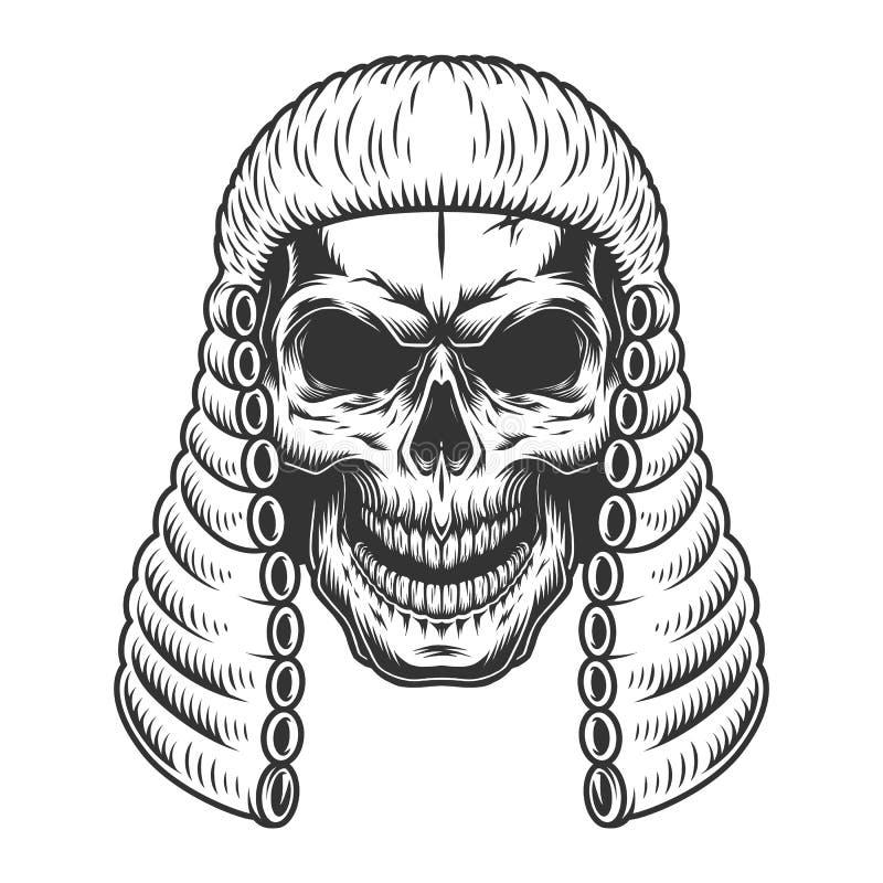 Cráneo en la peluca del juez ilustración del vector