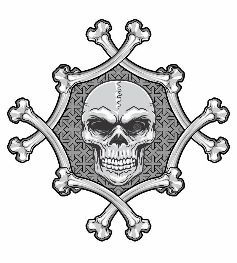 Cráneo En Marco De Los Huesos Stock de ilustración - Ilustración de ...