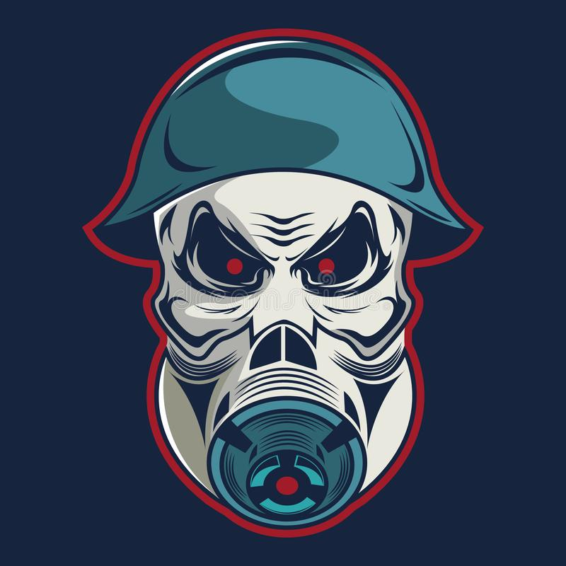 Cráneo en militares del casco y plantilla del logotipo de la careta antigás ilustración del vector