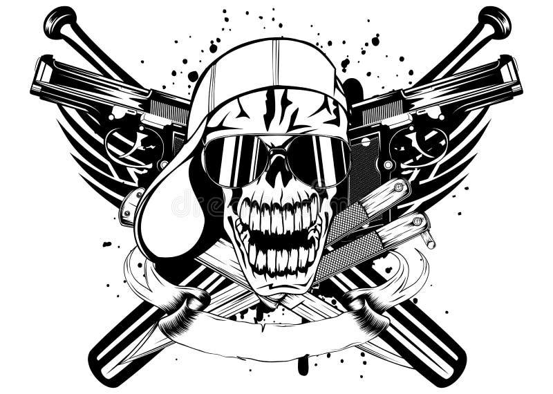 Cráneo en palos de los cuchillos del casquillo y dos pistolas libre illustration