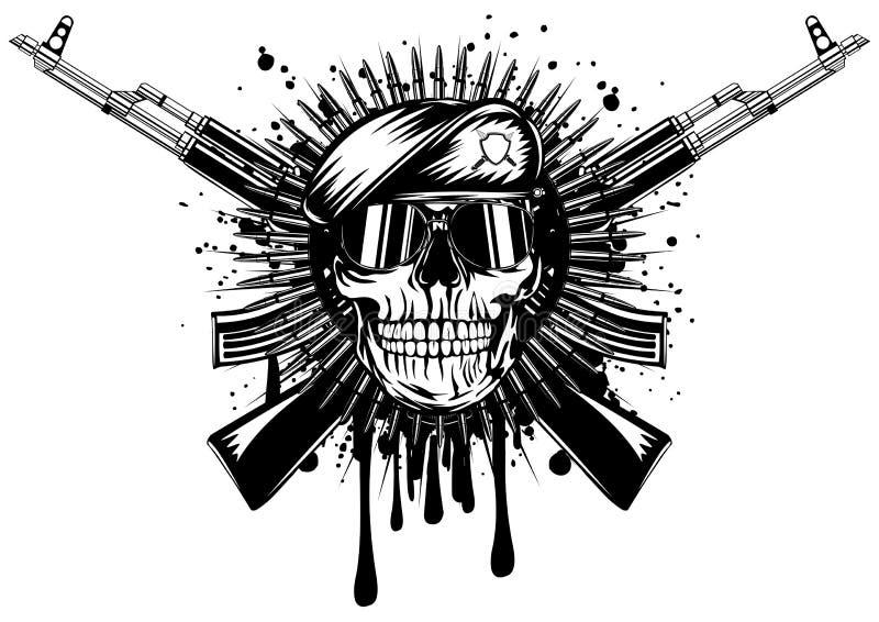 Cráneo en rifle de asalto cruzado boina ilustración del vector