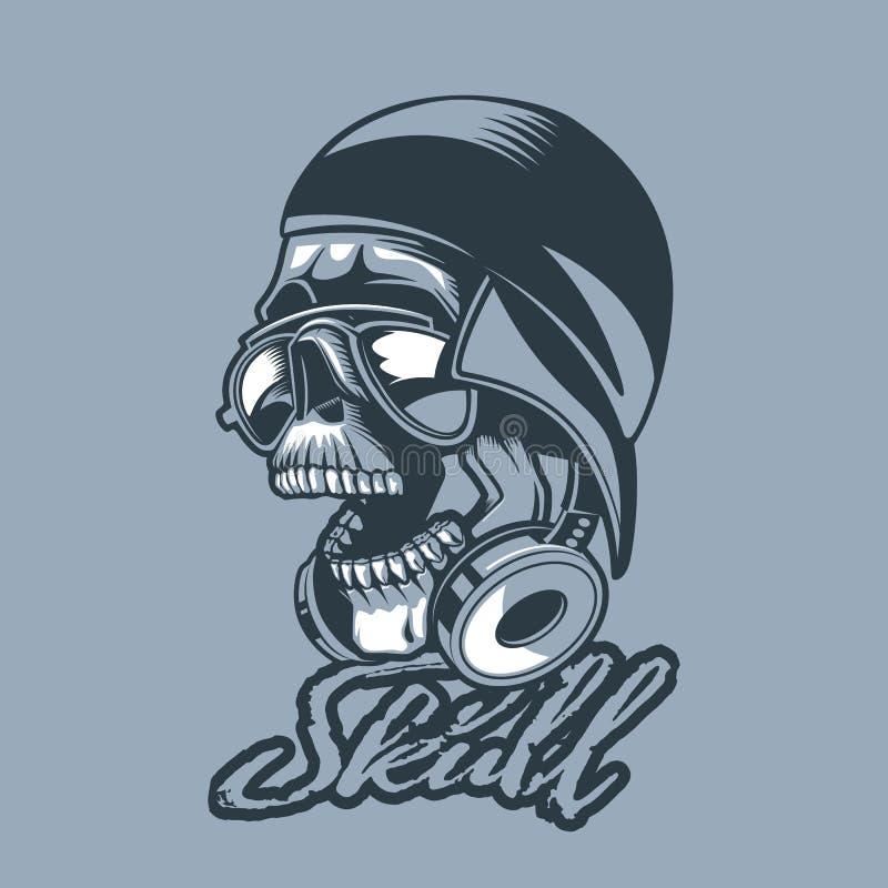 Cráneo en un casquillo y auriculares ilustración del vector