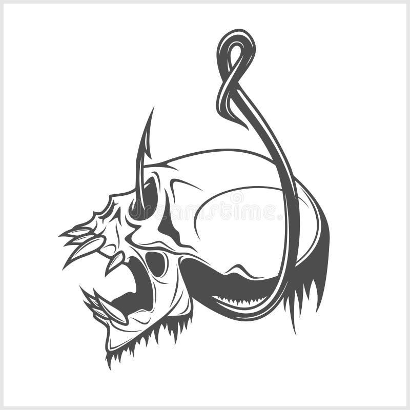 Cráneo en un gancho de pesca ilustración del vector