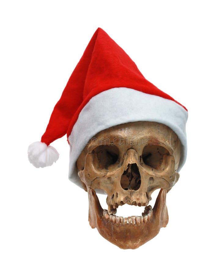 Cráneo en un sombrero de la Navidad imagen de archivo