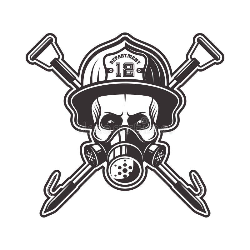 Cráneo en vector del casco del respirador y del bombero ilustración del vector