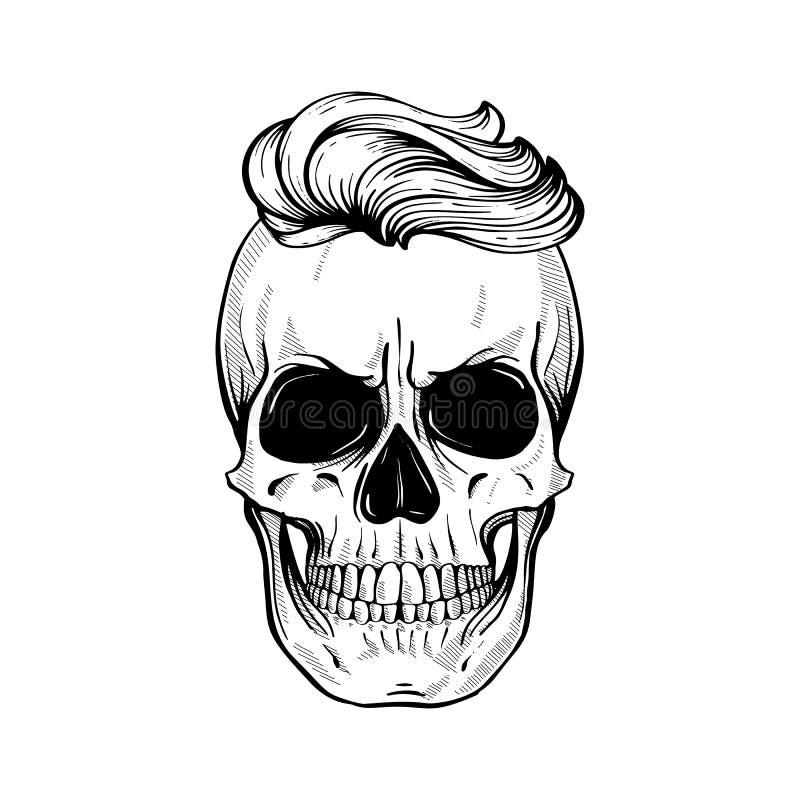 Cráneo enojado con el peinado libre illustration