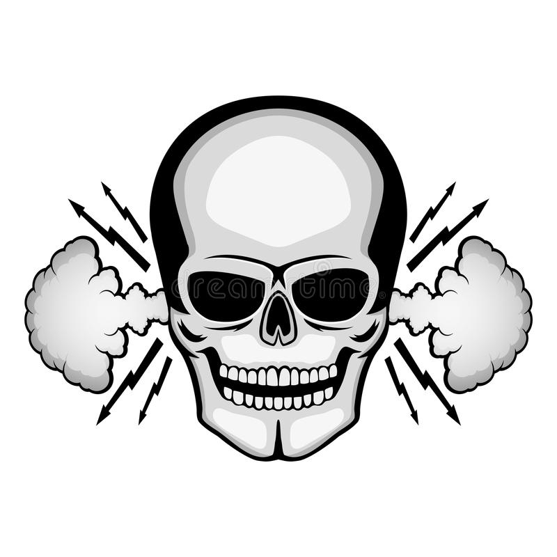 Cráneo enojado con humo de los oídos stock de ilustración