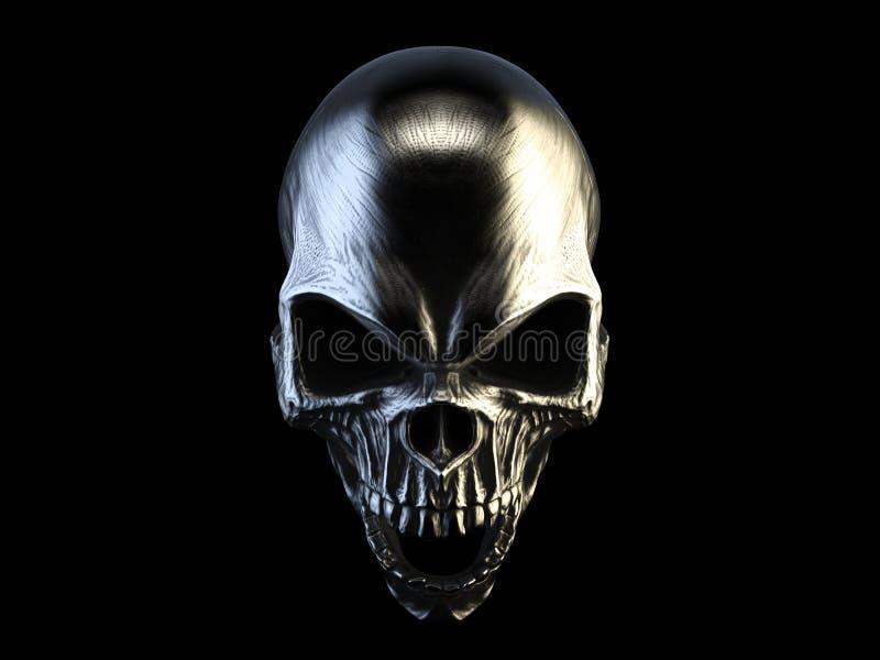 Cráneo enojado de plata de griterío del demonio stock de ilustración