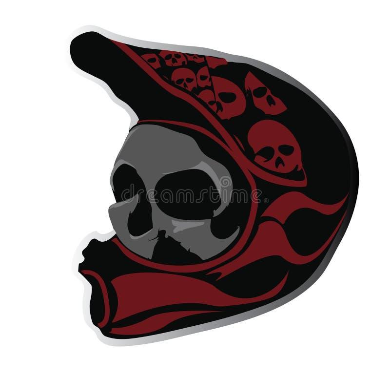 Cráneo enojado en el casco de la bici ilustración del vector