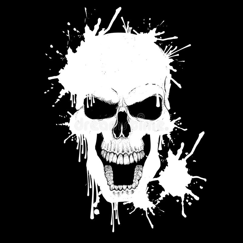 Cráneo enojado Estilo de Dotwork stock de ilustración