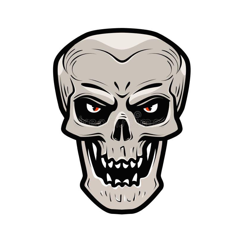 Cráneo enojado Monstruo, muerto, zombi, Halloween, símbolo del diablo Ilustración del vector de la historieta libre illustration