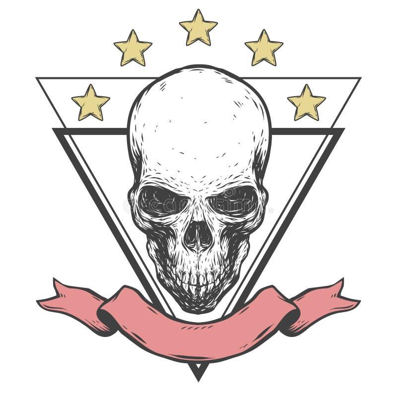 Cráneo espeluznante con la cinta y las estrellas stock de ilustración