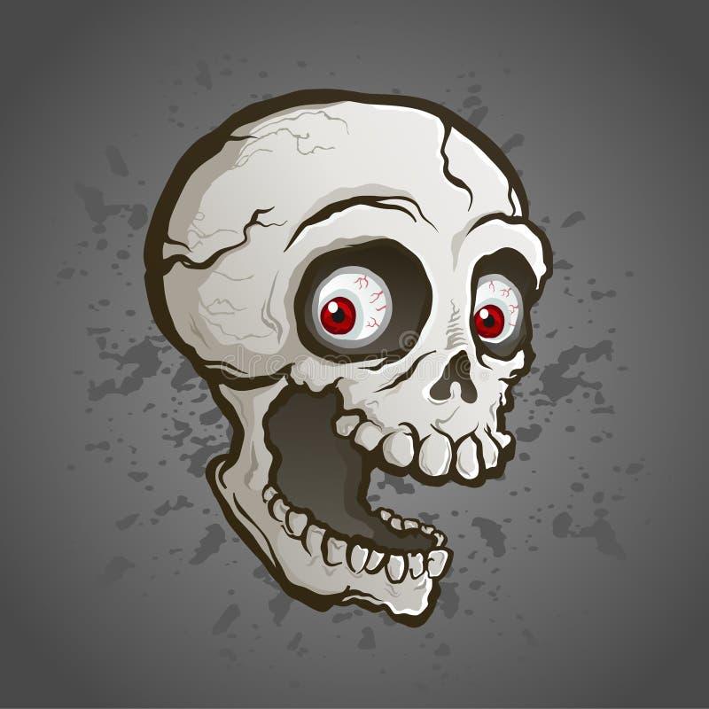 Cráneo espeluznante con la historieta roja de los ojos libre illustration