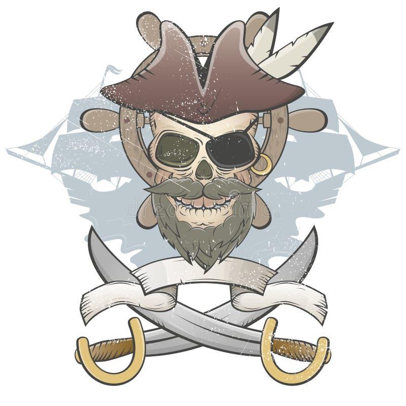 Cráneo espeluznante del pirata ilustración del vector