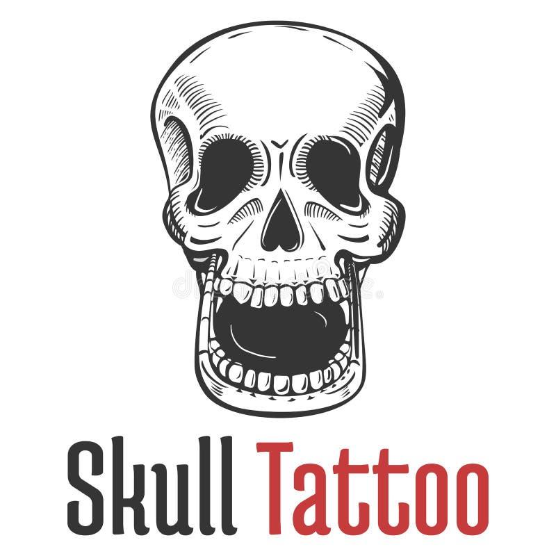 Cráneo esquelético con el tatuaje abierto ancho de la boca y los dientes desnudos Terrible y muerto, temible y asustadizo, aterro libre illustration