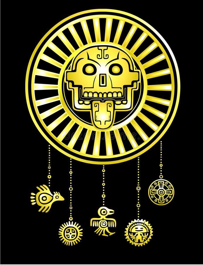 Cráneo estilizado Dios pagano de la muerte Motivos del indio del nativo americano del arte ilustración del vector