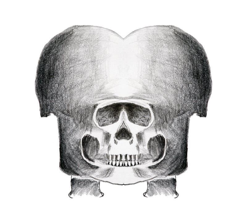 Cráneo extraño - lápiz en el papel stock de ilustración