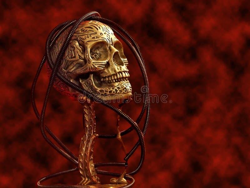 Cráneo falso de víspera de Todos los Santos con sangre. libre illustration